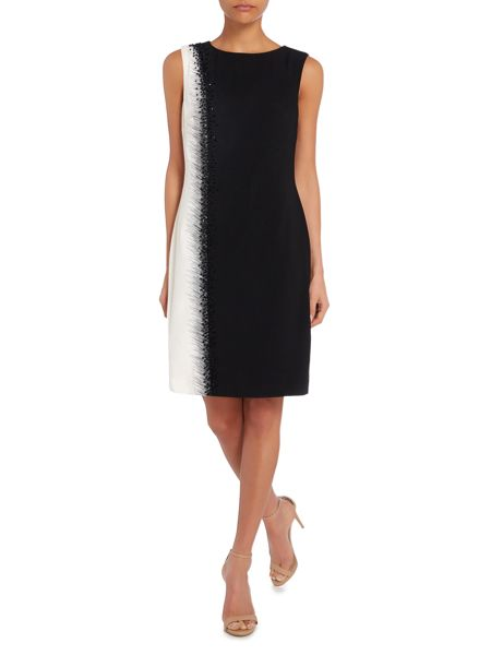 Tahari ASL Two Tone Dress With Embellished Side Stitching