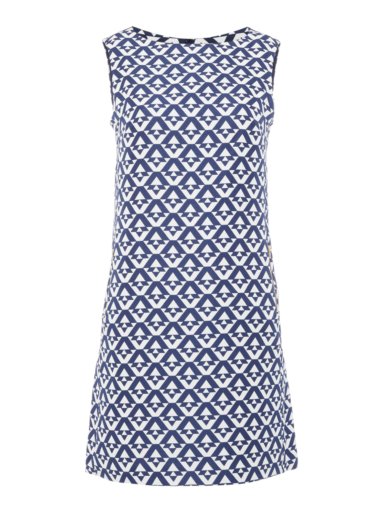 Tahari ASL Geometric Print Tunic Dress, Blue