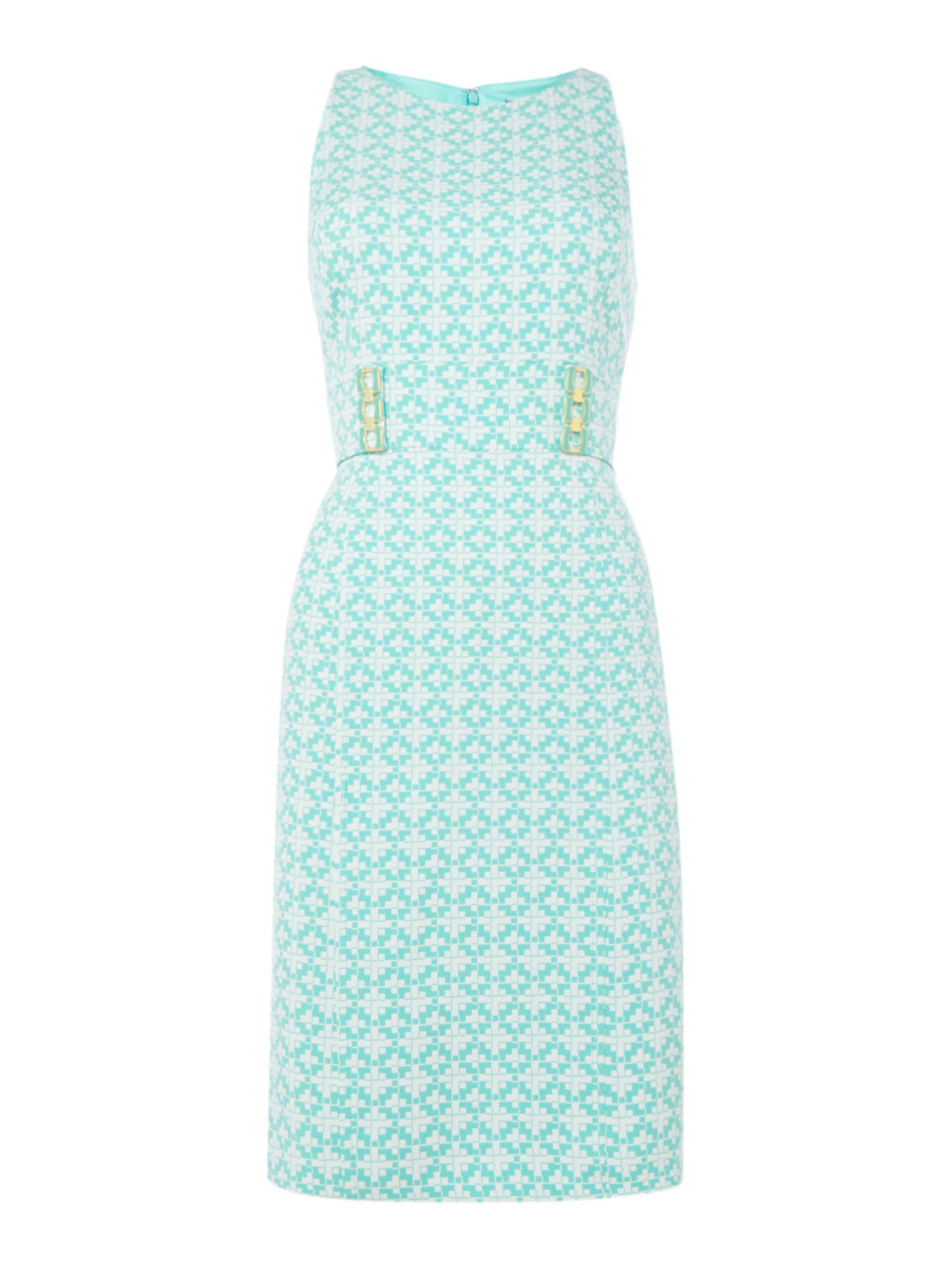 Tahari ASL Jacquard Shift Dress With Geometric Print, Blue