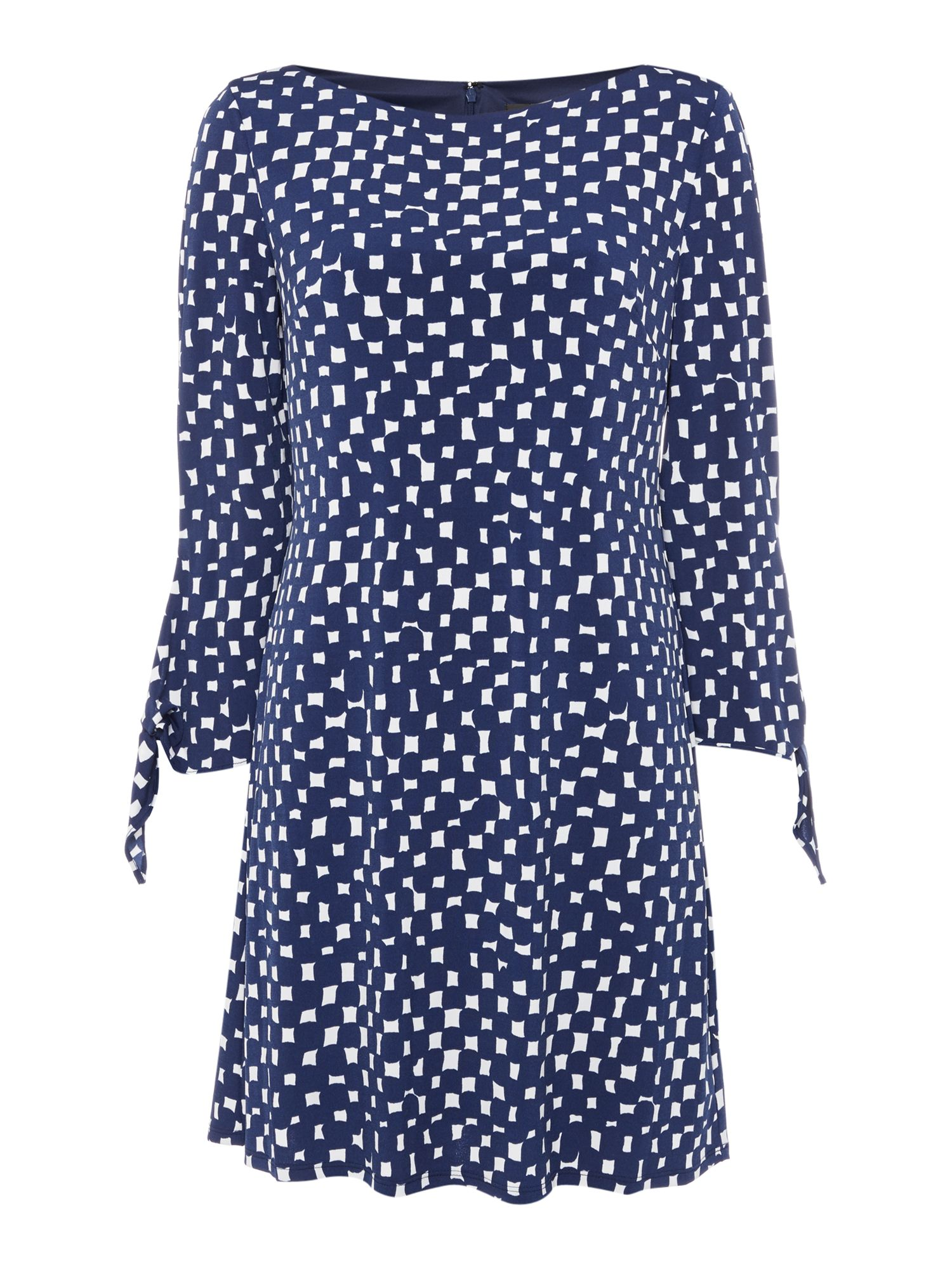 Tahari ASL Tunic Dress In Abstract Spotted Print, Blue