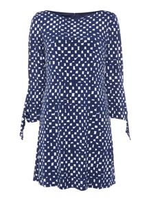 Tahari ASL Tunic Dress In Abstract Spotted Print