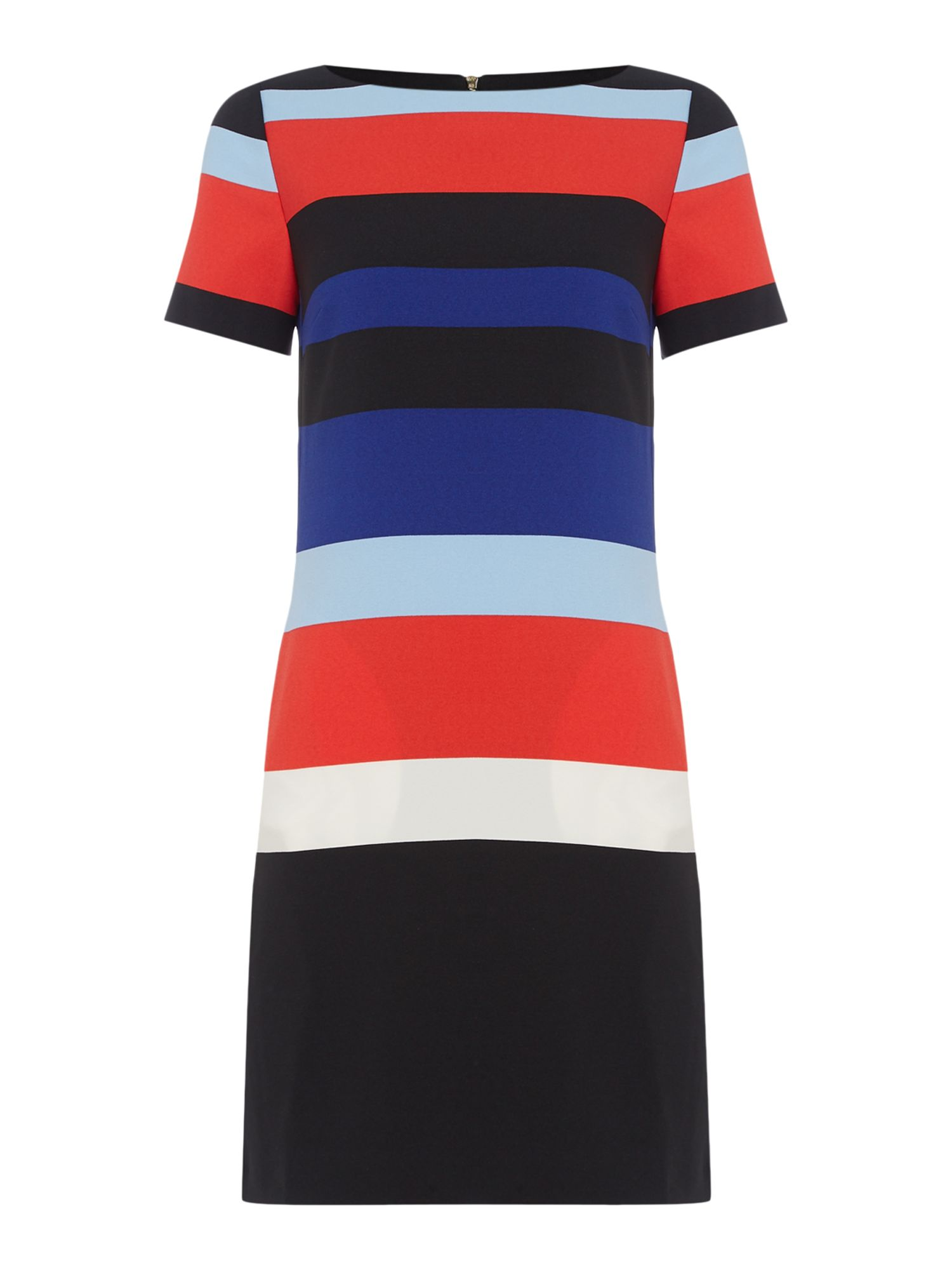 Tahari ASL Vibrant Bold Stripes Shift Dress, Multi-Coloured