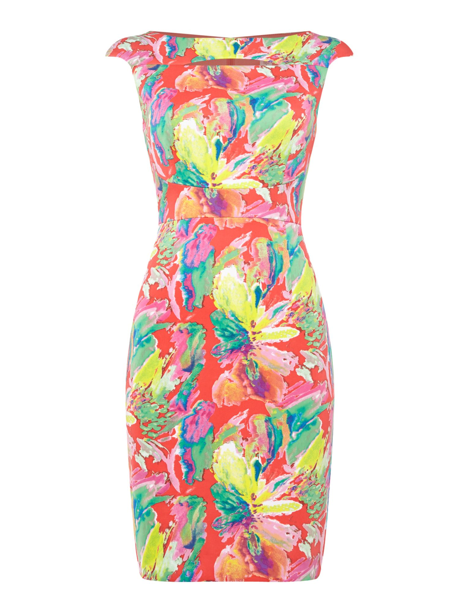 Tahari ASL Tropical print dress, Multi-Coloured