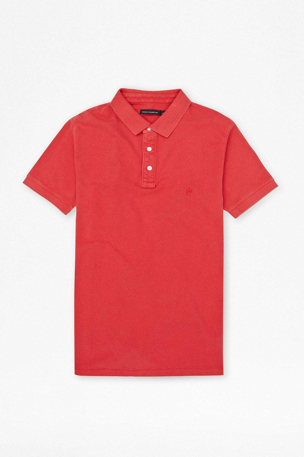 Stone washed pique polo T-shirt
