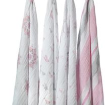 Aden & Anais Babys 4 pack boxed printed swaddles