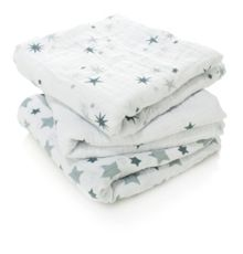 Babys 3 pack boxed printed muslin cloths
