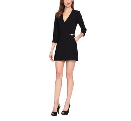 Tahari ASL Vneck Black Playsuit