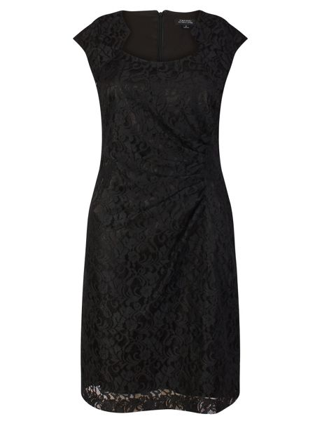 Tahari ASL Black short sleeved shift dress
