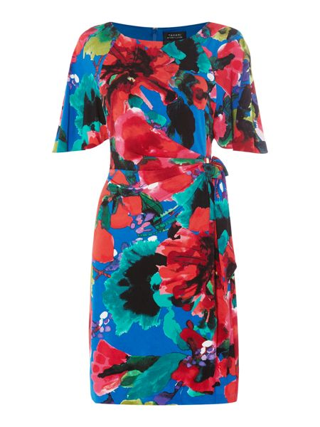 Tahari ASL Floral print sleeveless jersey dress