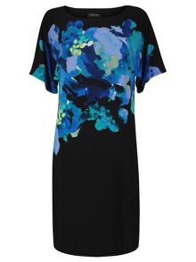 Tahari ASL Floral print sleeveless jersey dress.