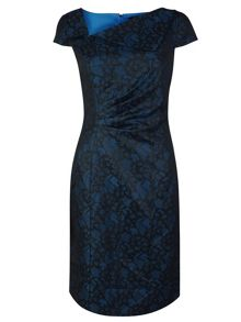 Tahari ASL Emerald Lace Print Dress