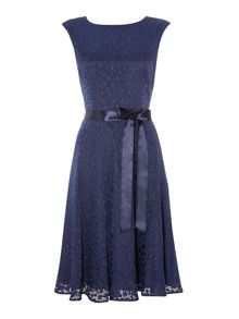 Tahari ASL Navy fit and flare dress