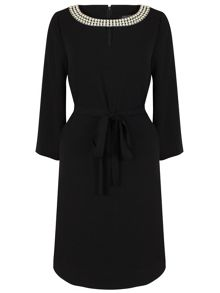 Tahari ASL Black dress with neckline detail