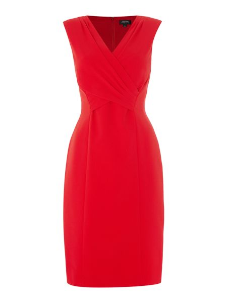 Tahari ASL Ruched Cross Over Red Dress