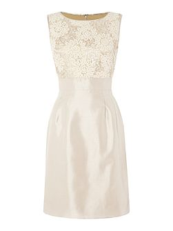 Cream Dress with Sequins and Lace