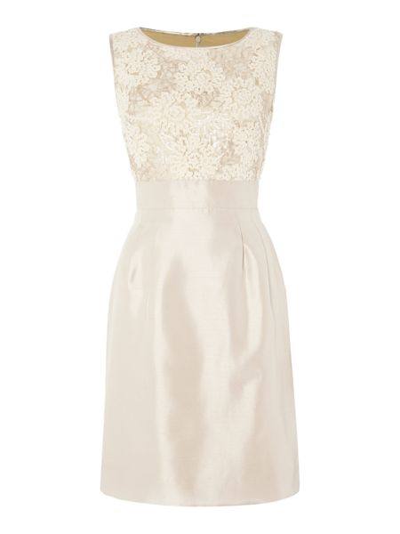 Tahari ASL Cream Dress with Sequins and Lace
