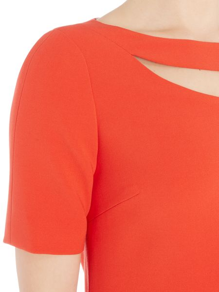 Tahari ASL Red Dress with Cut Out Detail