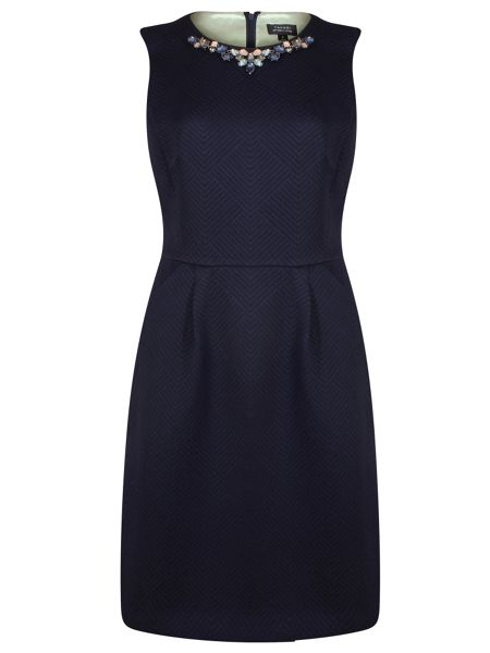 Tahari ASL Navy Dress with Neckline Details