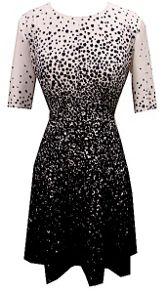 Tahari ASL Black and Ivory galaxy print dress