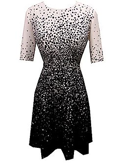 Black and Ivory galaxy print dress