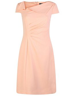 Shift Dress with Envelope Collar