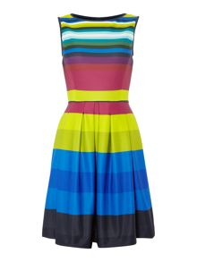 Tahari ASL Fit And Flare Striped Dress