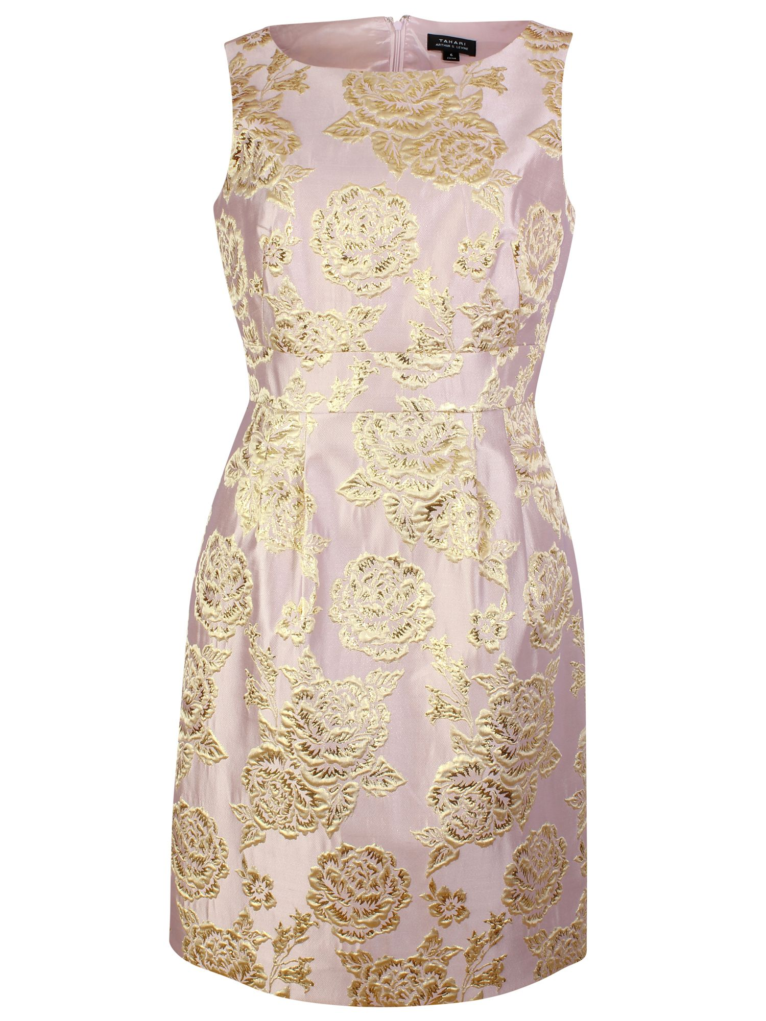 Tahari ASL Gold Print Dress, Lilac