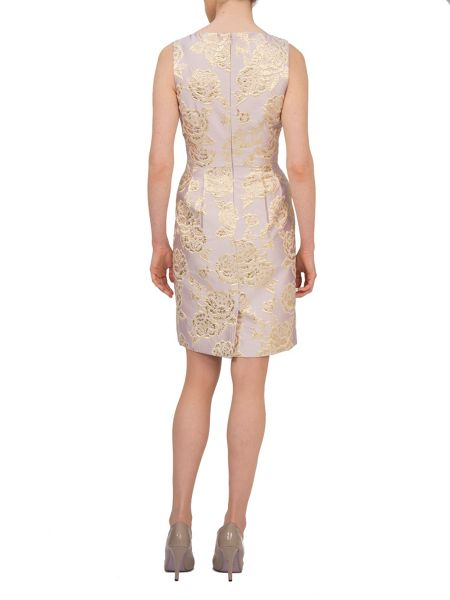 Tahari ASL Gold Print Dress