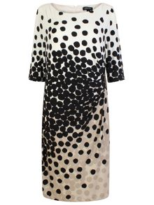 Tahari ASL Ivory, Black and Taupe Dress