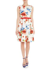 Tahari ASL Ivory, Scarlet and Yellow Dress