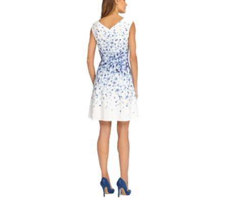 Tahari ASL Ivory Flower Print Dress