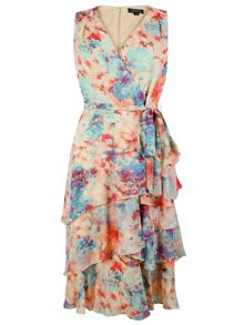 Tahari ASL Rose, Coral and Sky Dress