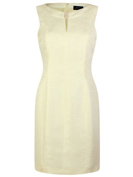 Tahari ASL Lemon crème shift dress