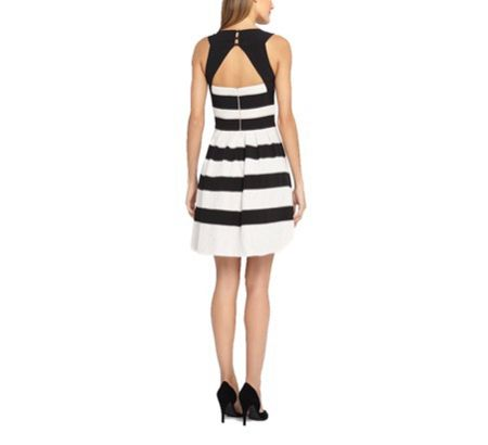 Tahari ASL Ivory Striped Dress