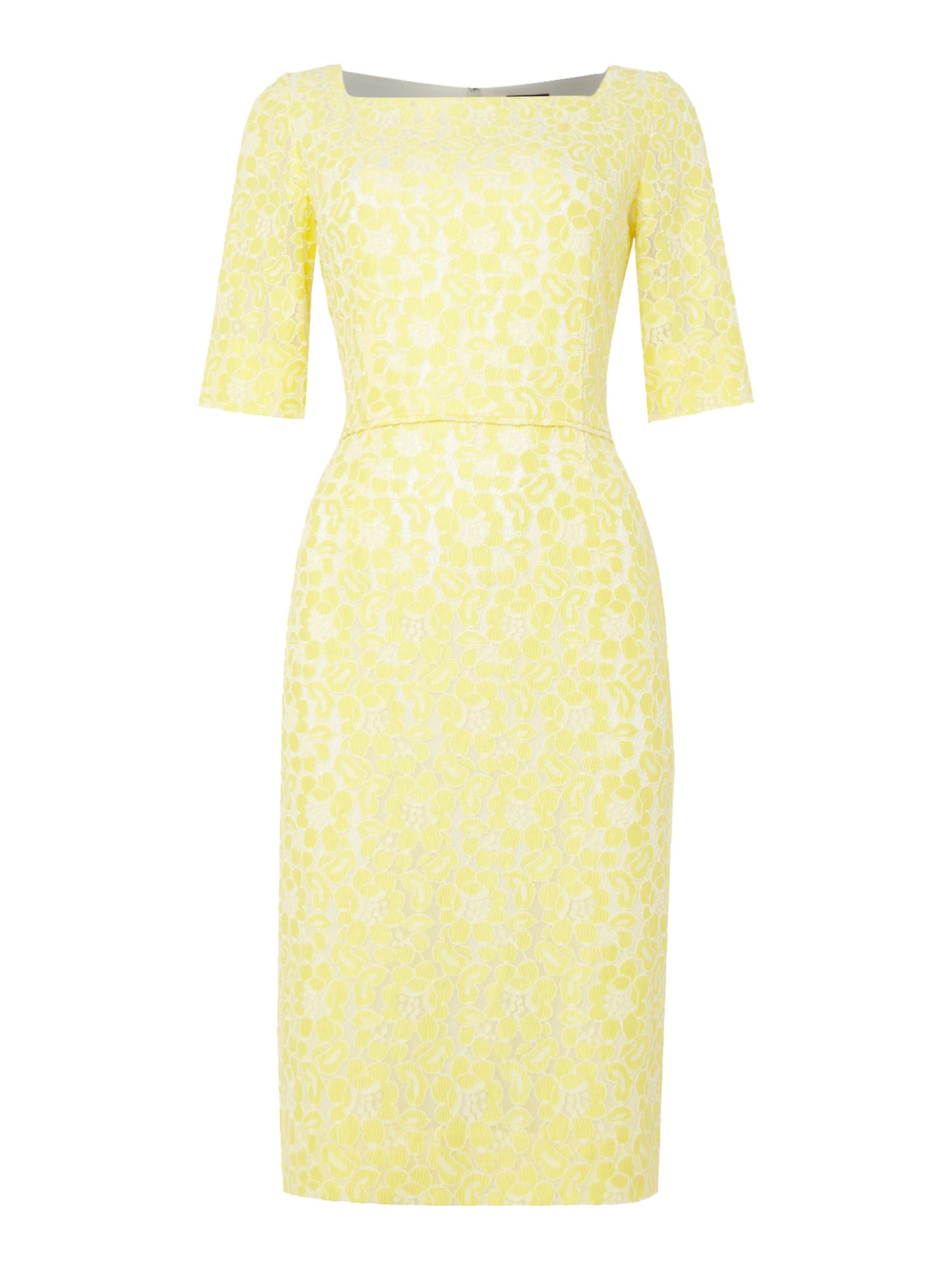 Tahari ASL Feminine Yellow and Ivory Lace Fitted Dress, Yellow