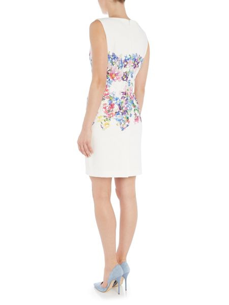 Tahari ASL White Peony Dress with Lace Details