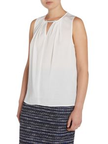 Tahari ASL Black Top with Silver Neck Detail