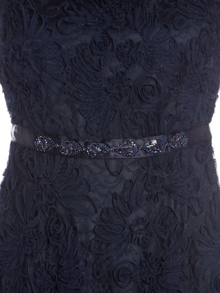 Tahari ASL Navy Lace Gown