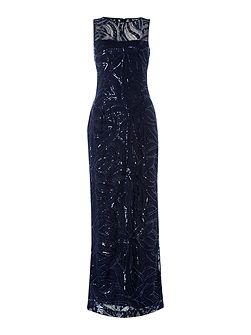 Sequined Navy Long Dress