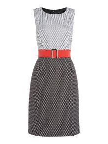 Tahari ASL Jacquard Check Belted Dress