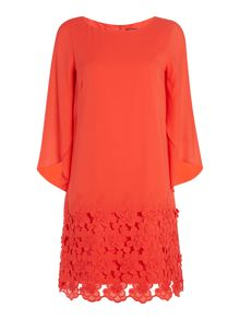 Tahari ASL Embroidered Chiffon Tunic Dress