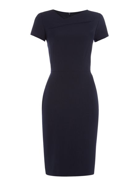 Tahari ASL Cap Sleeve Asymmetric Neckline Dress