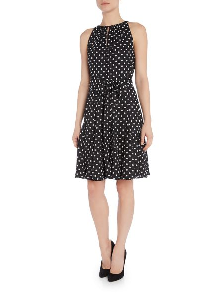 Tahari ASL Polka Dot Dress With Keyhole Neckline