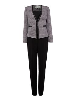 Open Tweed Frame Welt Pocket Jacket Pant Suit