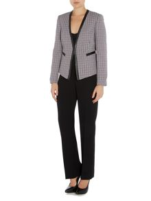 Tahari ASL Open Tweed Frame Welt Pocket Jacket Pant Suit