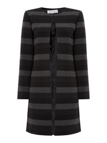 Tahari ASL Jewel Neck Thin Stripe Topper Coat