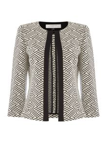 Tahari ASL Jewel Neck Geometric Print Frame Open Jacket