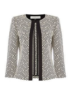 Jewel Neck Geometric Print Frame Open Jacket