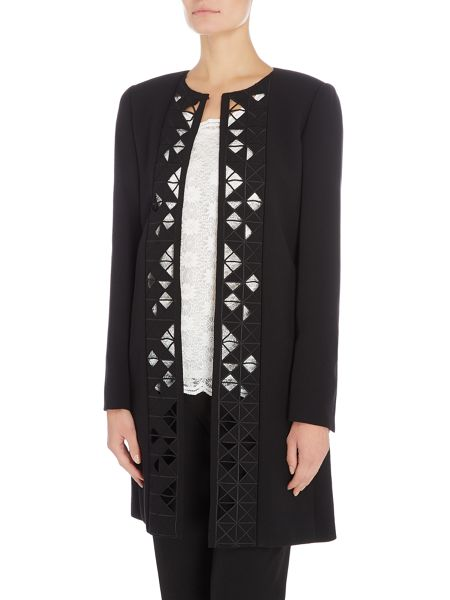 Tahari ASL Black Cut-Out Geometric Topper Coat
