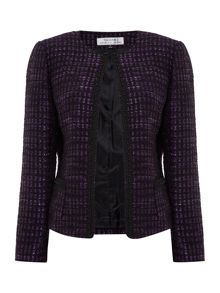 Tahari ASL Black, and Purple Check Boucle Blazer